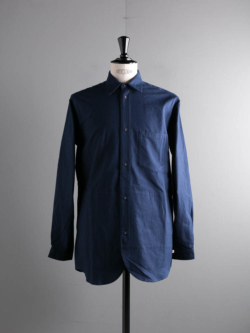 FRANK LEDER | BALTIC BLUE DYED VINTAGE BEDSHEET SHIRT WITH SIDE POCKET 39:Navy ベッドシーツサイドポケット付きシャツの商品画像
