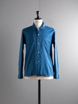AULICO | OPEN COLLAR SHIRT Sax コットンシルク開襟シャツの商品画像