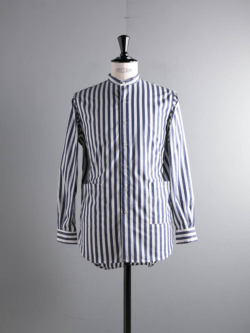 YARMO | BAND COLLAR SHIRTS CANDY STRIPE Navy St ハンドポケット付きバンドカラーシャツの商品画像
