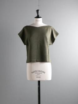 ABOUT | ORETOP-GOTS Moss Green リネンコットンフレンチスリーブTシャツの商品画像