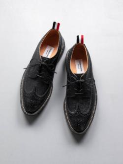 THOM BROWNE | CLASSIC LONGWING BROGUE PEBBLE GRAIN Black ロングウイングチップブローグシューズの商品画像