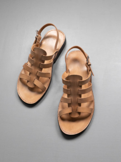 PEZZETTINO | NATURAL LEATHER GURKHA SANDALS Tan ヌメ三層レザーグルカサンダル