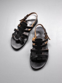 PEZZETTINO | SFUMATO LEATHER GURKHA SANDALS Black スフマート三層レザーグルカサンダル