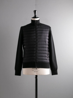 MONCLER | QUILTED SHELL DOWN ZIP-UP SWEATER Black ジップアップニットダウンジャケットの商品画像