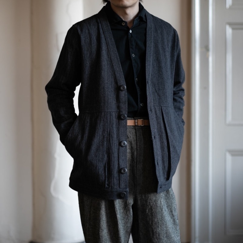 フランクリーダー GREY LINEN CARDIGAN WITH GUSSET POCKET