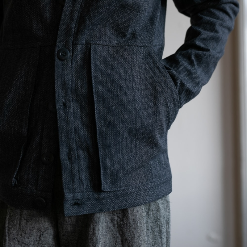 FRANK LEDER GREY LINEN CARDIGAN WITH GUSSET POCKET