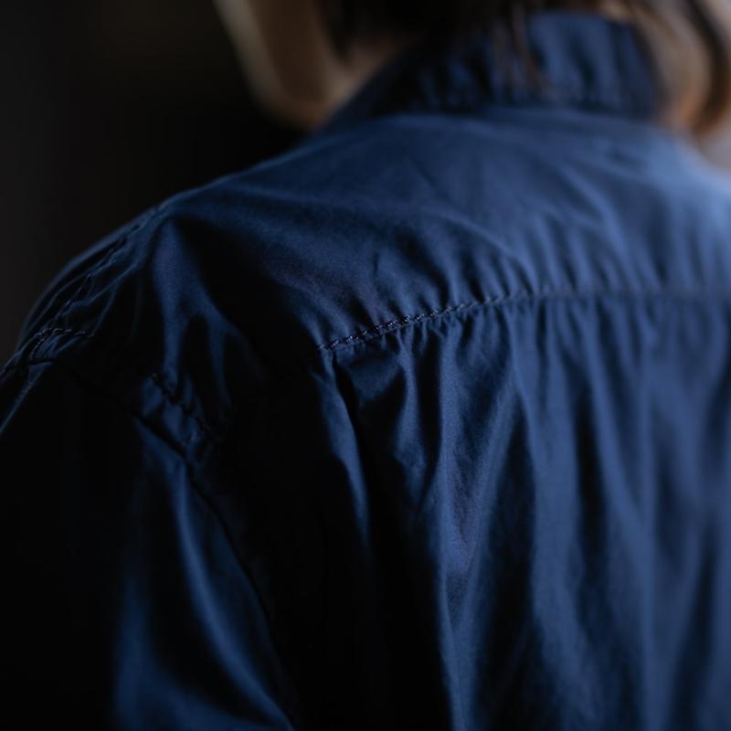 サンリミット 極太ステッチ大開襟ボックス半袖シャツ ネイビー