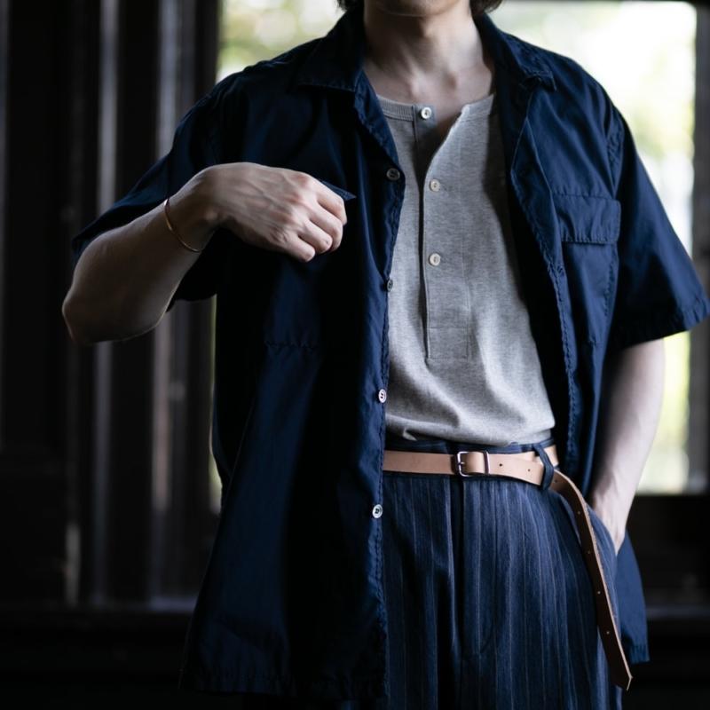 サンリミット ブロード極太ステッチ大開襟ボックス半袖シャツ