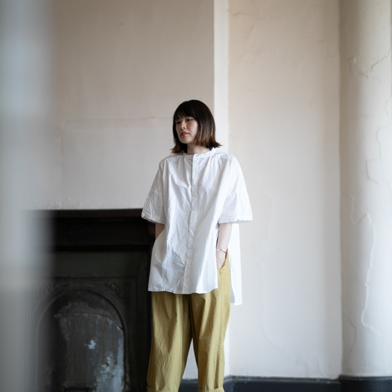 YARMO SIDE OPEN S/SLV SHIRTS COTTON CAMBRIC White