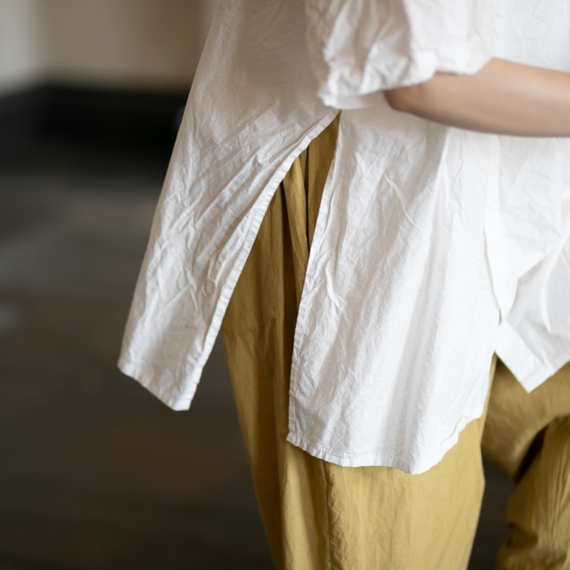 YARMO サイドオープンショートスリーブシャツ white ホワイト