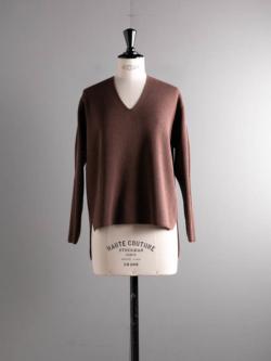 BN-20FL-014 HARD TWIST WOOL V-NECK Pink brown