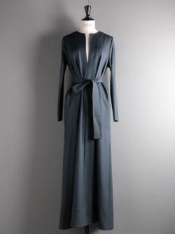 POSTELEGANT | WOOL TRIACETATE TWILL DRESS Dark Green ウールトリアセテートツイルドレスの商品画像