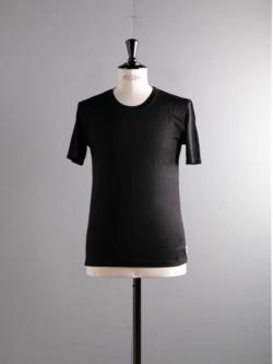 YINDIGO A M | SL009 SILK CREW T Black ウォッシャブルシルク半袖Tシャツの商品画像