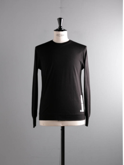 YINDIGO A M | SL010 SILK CREW SWEATER Black ウォッシャブルシルク長袖Tシャツの商品画像