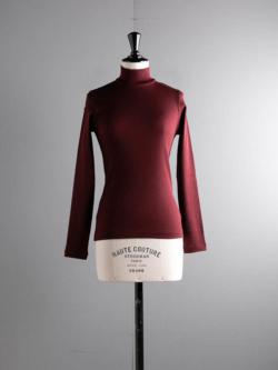 smoothday | ST-T011-100 Bordeaux 防縮ウールテレコハイネック長袖カットソーの商品画像