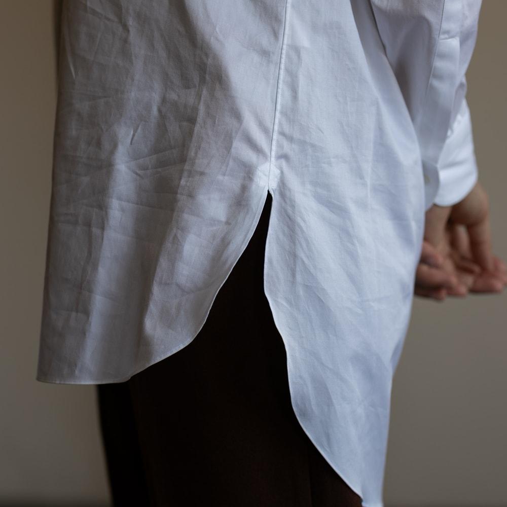 インディゴAM イカ胸ピンタックアーカイブシャツ ホワイト