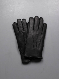 WINDSOR- FUR LINED DEERSKIN LEATHER GLOVES Black
