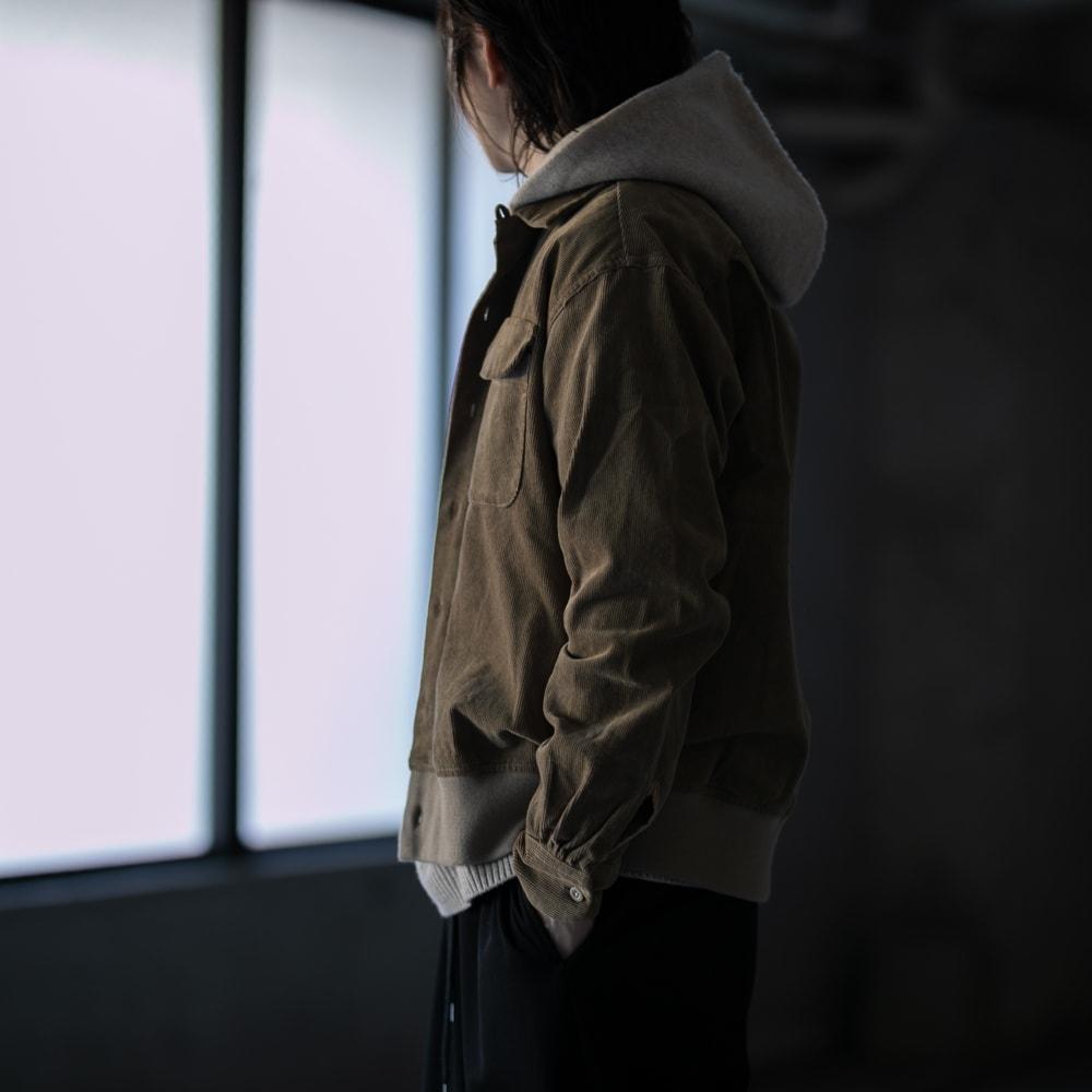 ガーメンツ 裾リブ付きコーデュロイオープンカラーシャツ