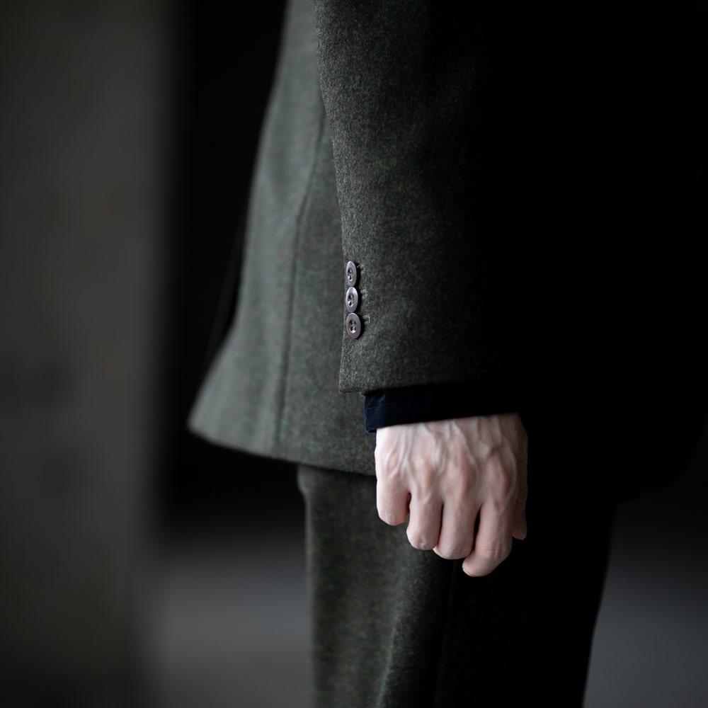 フランクリーダー ライトローデンウールテーラードジャケット オリーブグリーン