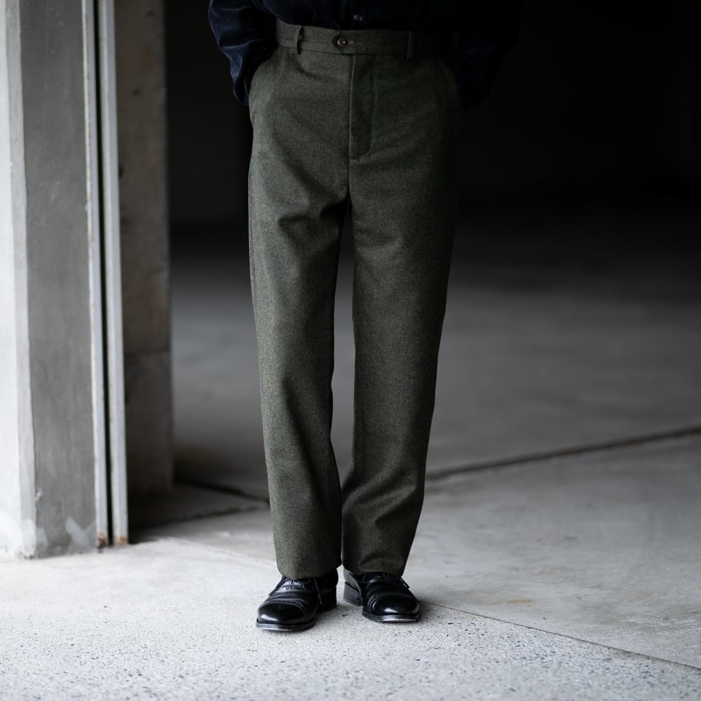 FRANK LEDER LIGHT WEIGHT LODEN WOOL TROUSERS 48:Olive
