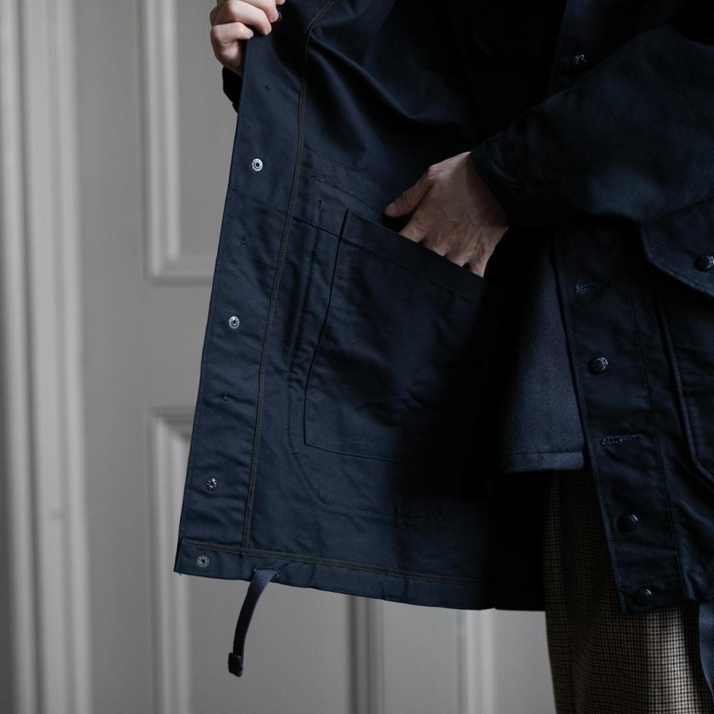 ガーメンツ コットンミリタリーフード付きコート ネイビーの福岡通販取扱店