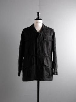tilt The authentics | 21SSSJ-01 DRAWSTRING BOMBOO FATIGUE Black バンブーリネンジャングルファティーグジャケットの商品画像
