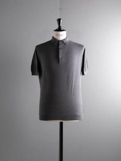 JOHN SMEDLEY | ROTH Charcoal コットン半袖鹿の子ポロシャツの商品画像