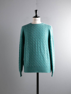 Johnstons of Elgin | CABLE CASHMERE SWEATER Green カシミアケーブル編みニットの商品画像