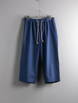 60's VINTAGE BEDSHEET DRAWSTRING WIDE TROUSERS 39:Navy