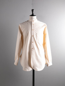 60's VINTAGE BEDSHEET OLD STYLE STAND COLLAR SHIRT 80:Natural