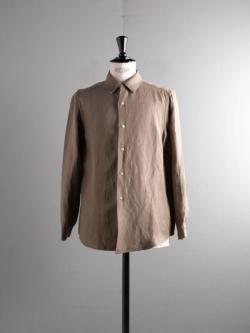 Aquellos Ojos Verdes BISHU | DRESSED RAYON LINEN REGULAR COLLAR SHIRT Beige(Khaki) レーヨンリネンレギュラーカラーシャツ