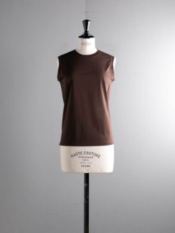 HIGH GAUGE COTTON SLEEVELESS TEE Dark Brown