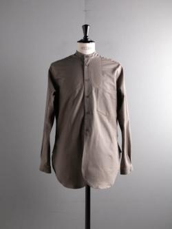 60's VINTAGE BEDSHEET OLD STYLE STAND COLLAR SHIRT 48:Olive