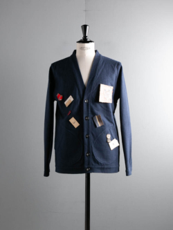 FRANK LEDER | COTTON CARDIGAN WITH VINTAGE OBJECTS 39:Navy プロップ付属コットン布帛カーディガンの商品画像