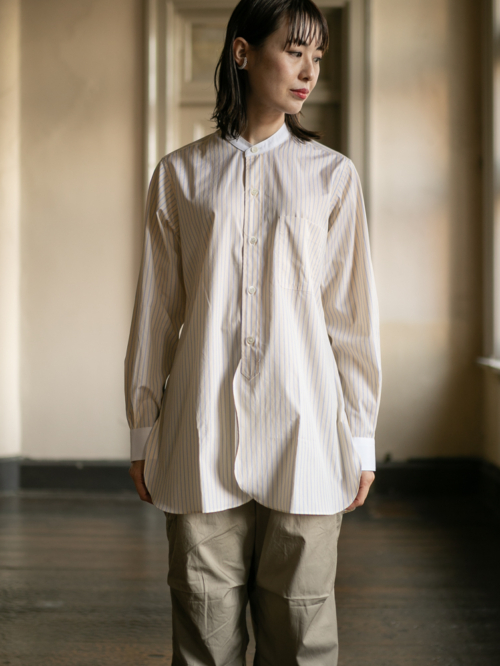 Sans Limite | S2101062 SH06S Yellow Stripe ストライプ長丈スタンドカラーシングルカフスシャツの商品画像