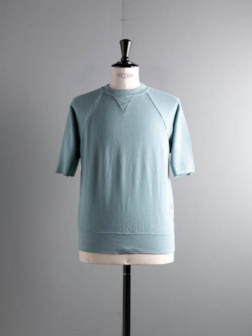 FilMelange | CARL Azure Blue エアリネン裏毛半袖スウェットシャツ カールの商品画像