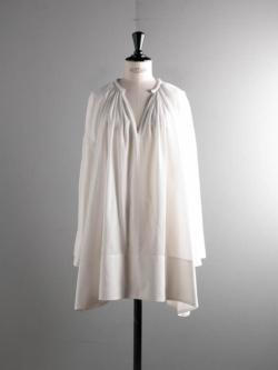 POSTELEGANT | COTTON PIQUE DRESS White コットンピケギャザーショートドレスの商品画像
