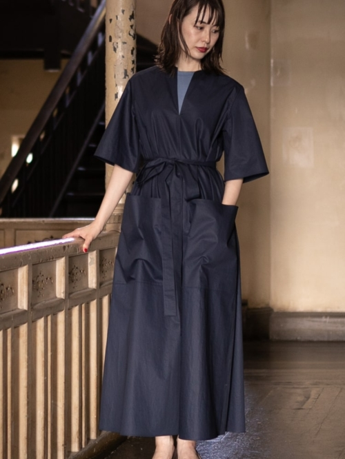 POSTELEGANT | COTTON BROAD LONG DRESS Navy コットンブロードロングドレスの商品画像
