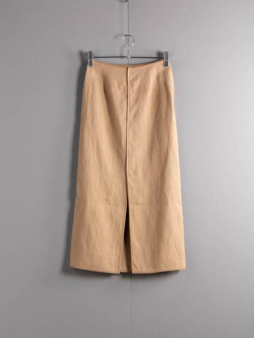 POSTELEGANT | LINEN GATHERED SKIRT Beige レザーパイピングリネンロングスカートの商品画像