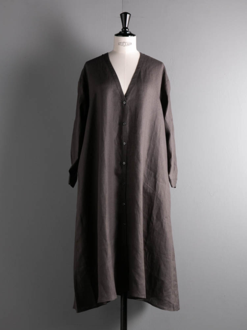 HONNETE | PIECE DYED IRISH LINEN LONG SHIRT Elephant リネンVネックロングシャツの商品画像