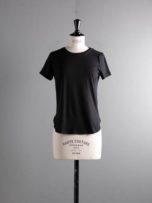 ABOUT | VELYVATSH Black コットンレーヨンTシャツの商品画像