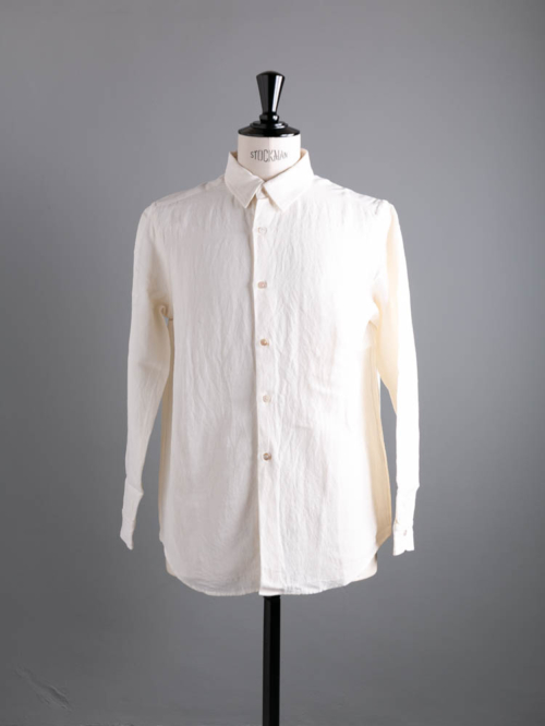 Aquellos Ojos Verdes BISHU | DRESSED RAYON WOOL REGULAR COLLAR SHIRT White レーヨンウールレギュラーカラーシャツの商品画像