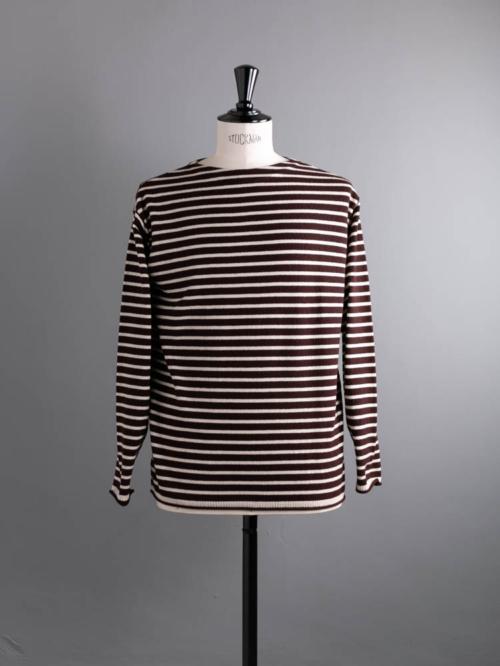 BATONER   BN-21FM-020 PILE WOOL BASQUE SHIRT Brown×White パイルウールバスクシャツニットの商品画像