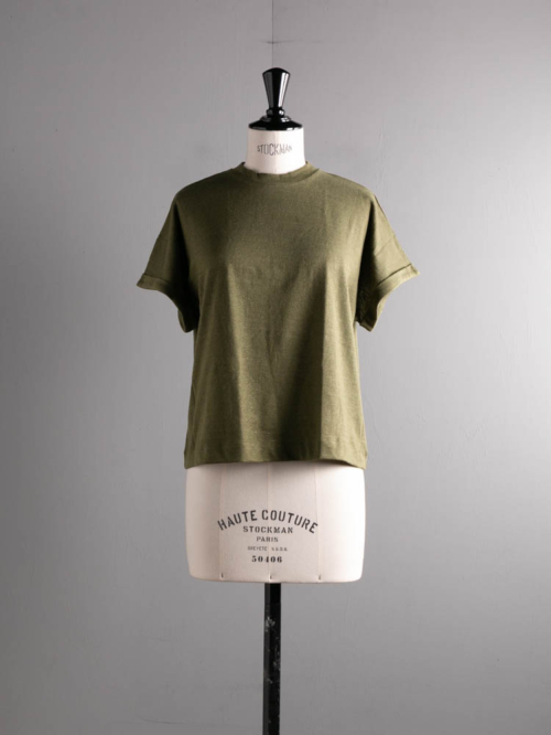 ABOUT | PALAIMATOP2 Khaki Green リネンコットンショートスリーブTシャツの商品画像