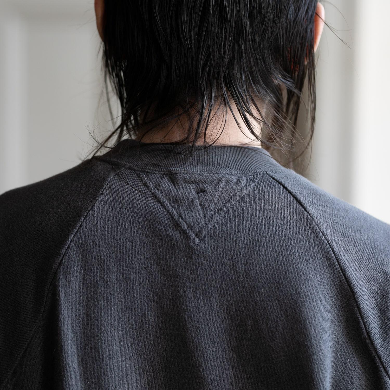 フィルメランジェ CARL Sumi Kuro リネン裏毛半袖スウェットシャツ チャコールグレー