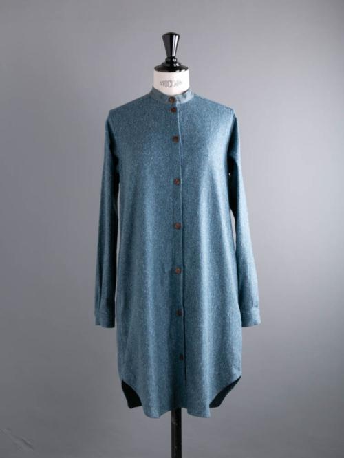 FRANK LEDER | BLUE WOOL SILK SHIRT DRESS 35:Blue ブルーウールシルクシャツワンピースの商品画像
