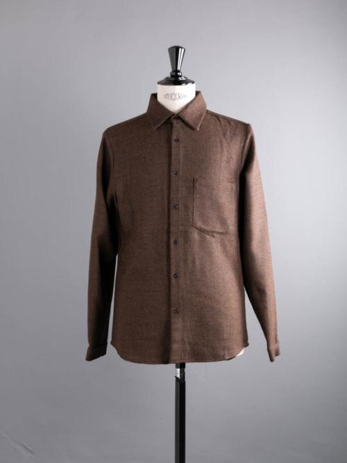 FRANK LEDER | BROWN WOOL PLAIN SHIRT 84:Light Brown ブラウンウールレギュラーフィットシャツの商品画像