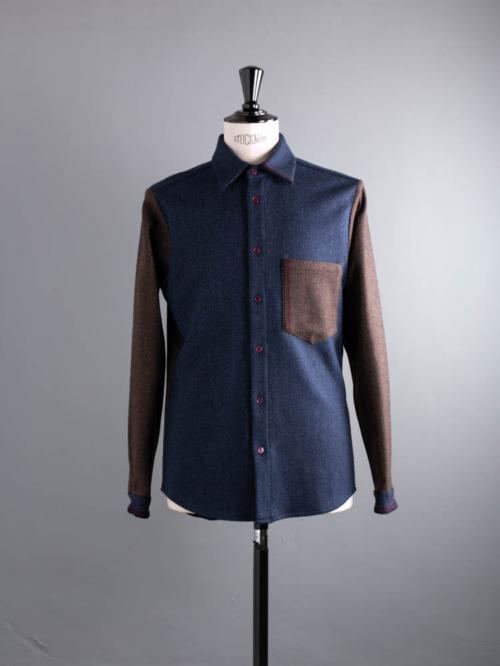 FRANK LEDER | BLUE BROWN WOOL EDGE DETAIL PLAIN SHIRT 39:Navy ブルーブラウンウールエッジディテールシャツの商品画像