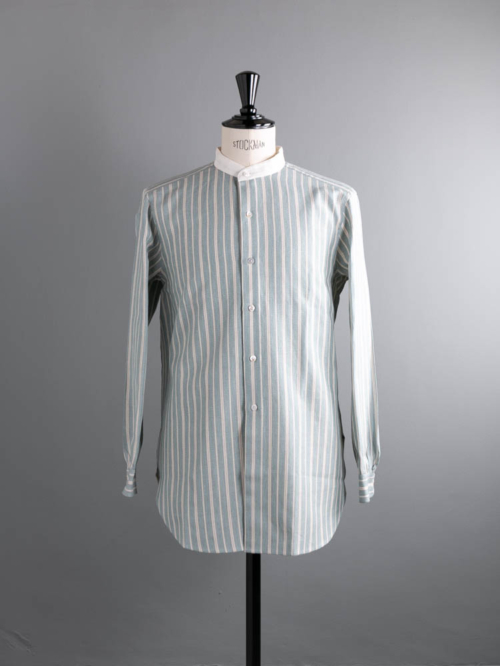 Aquellos Ojos Verdes BISHU | LONG LENGTH CLERIC BAND COLLAR SHIRT Sax Blue ロングレングスクレリックバンドカラーシャツの商品画像