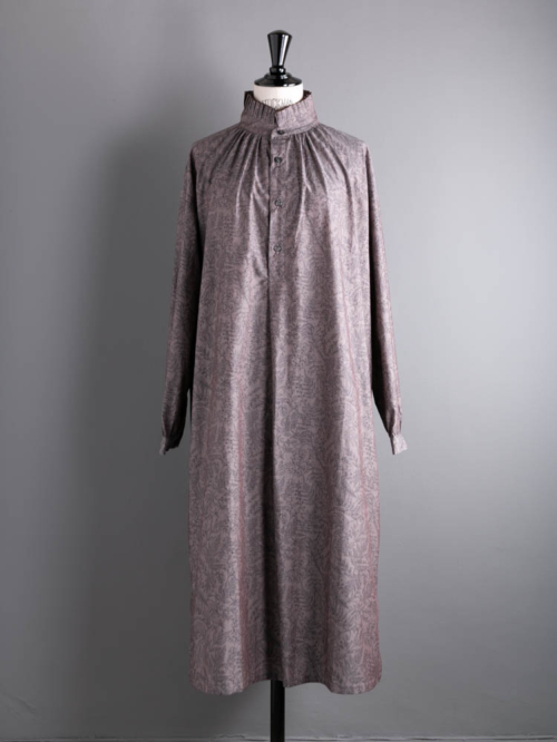 HONNETE | PLEATED COLLARED GATHER OP Montgomery Grey コットンプリーツカラーワンピースの商品画像